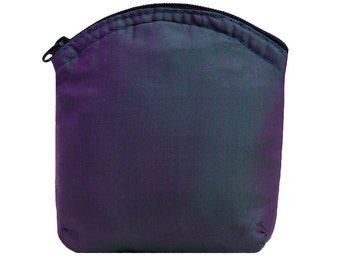 Large Size Handmade Purple Pure Silk Purse.  Pouch.  Small Makeup Bag.  Gift Idea.   Coin & Card Pouch.  Zip Top with Pure Cotton Lining.