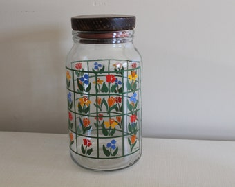 Vintage Anchor Hocking Floral Flower Print Glass Canister/ Jar/ Container Clear Glass Container With Wooden Lid