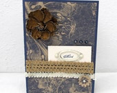 Any Occasion Card - Vintage Style - Blank Card - Shabby Chic Flower - Navy Blue Card - Ivory Accents - French Flair - Blank Card