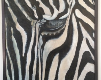 """Original oil painting of zebra - titled 'In my eyes nothing is ever just black and white"""""""