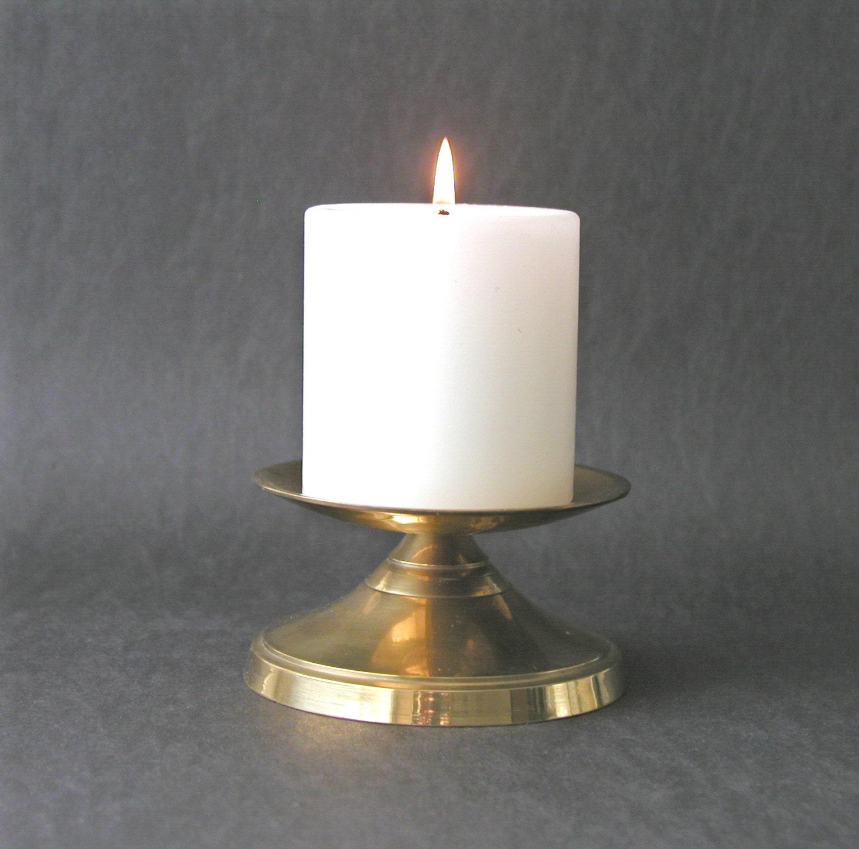 Vintage Solid Brass Pillar Light: Vintage Beautiful Solid Brass Pillar Candle Holder Candle