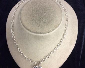 Vintage Rhinestone Heart Pendant Necklace