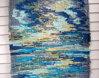Blue & water-tones recycled fabric rag rug, 22.5 x 33.5""