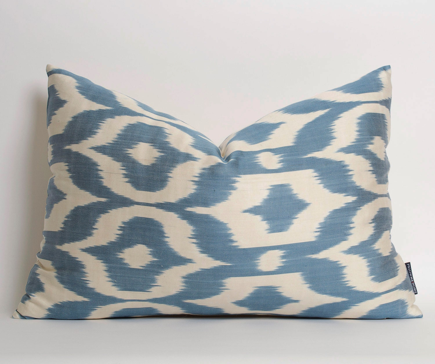 White Blue Silk Ikat Pillow Cover Blue Silk Ethnic Throw