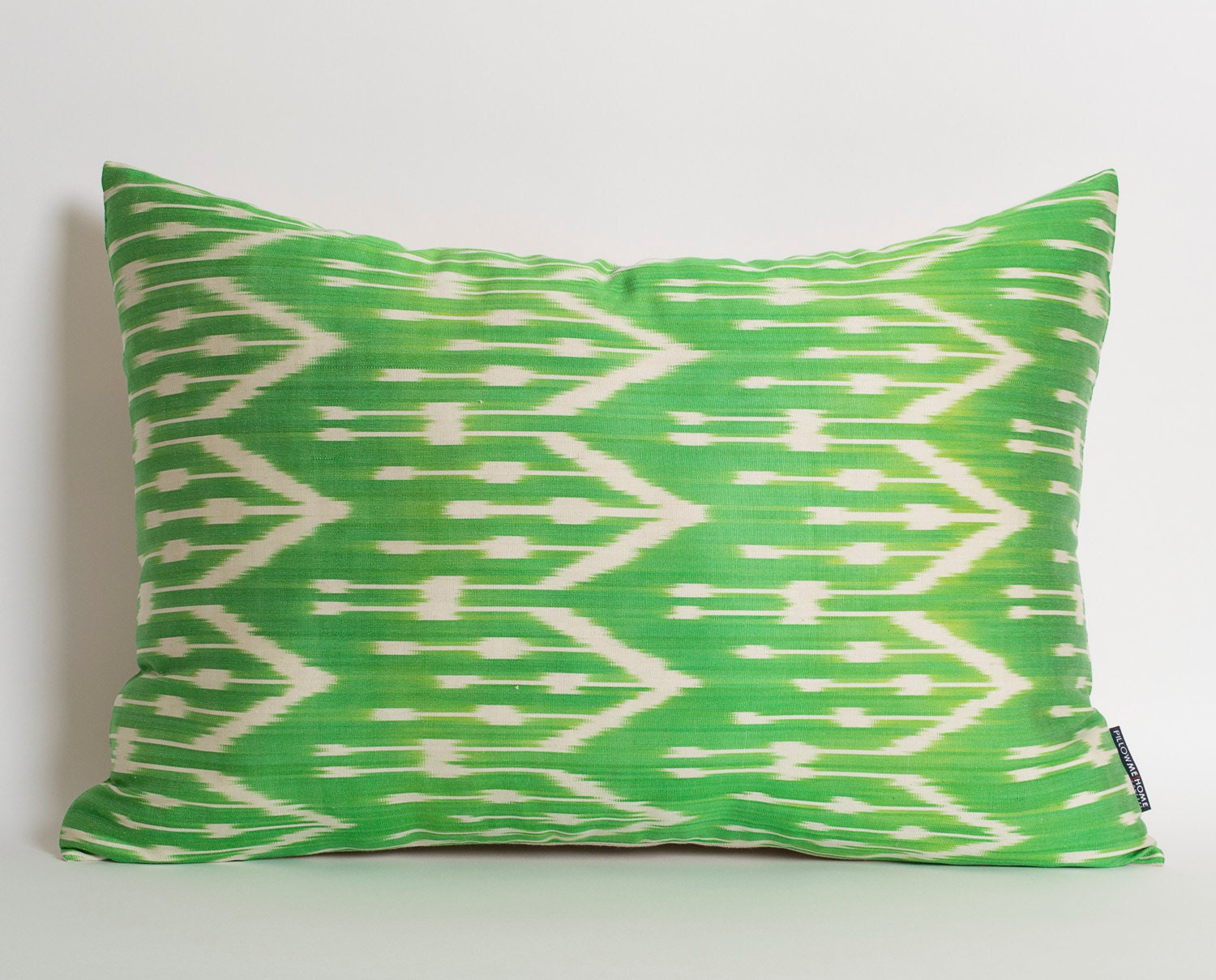 Green Silk Throw Pillow : Green White Zigzag Silk Ikat Pillow Cover Decorative Throw