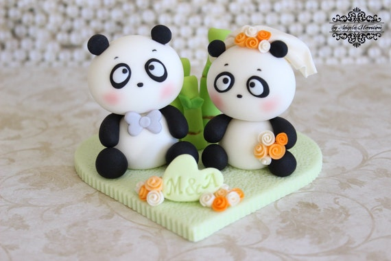 Panda wedding cake topper