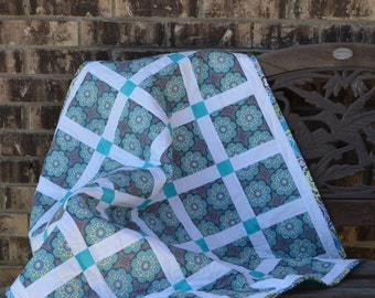 Gray citron turquoise baby quilt