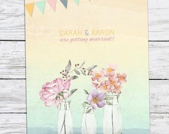 Spring Time Pastel Wedding Invitation Printable DIY