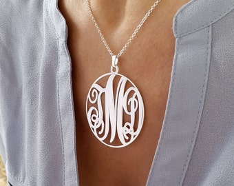 Large Circle Monogram necklace - 1.75 inch Personalized Monogram - 925 Sterling Silver, Gift For Her