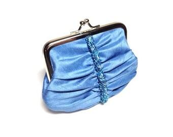 Blue Swarovski elements beaded purse