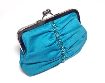 Turquoise Swarovski beaded evening Clutch bag