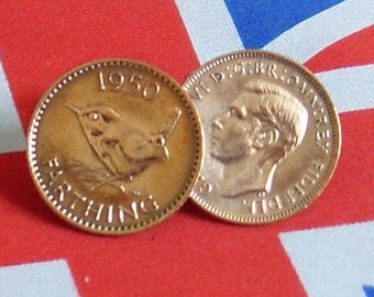 Boxed Pair Vintage British 1950 Farthing Coin Cufflinks Wedding 66th Birthday