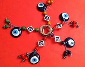 Evil Eye keychain with wood and evil eye beads, evil eye keychains, good luck and protection relic, gifts