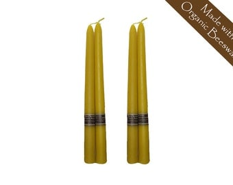 "100% Raw Organic Beeswax Taper Candles 10"" 4 Pack"