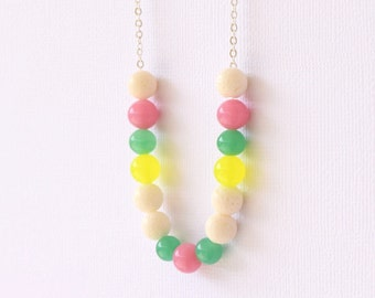 Multicolour beaded necklace, beaded strand necklace