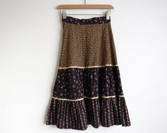 1960's Floral Prairie Skirt // Small 60's High Waist A-Line Skirt // Vintage Prairie Skirt