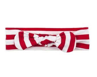 Baby Headband, Toddler Headband, Adult Headband, Baby Girl Headband, Top Knot Headband, Bow Headband, Striped Headband, Red and White Stripe