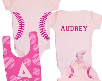 Baby Baseball Outfit, Personalized Baseball Baby Gift, Infant Girl Gift Set, Baby Girl Baseball Gift