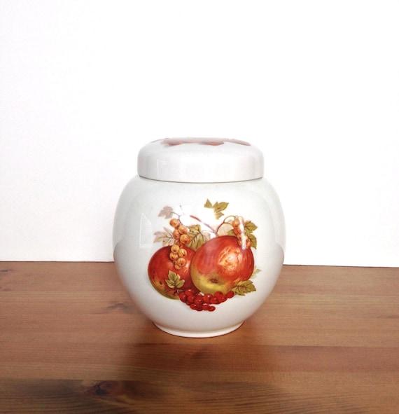 Vintage Sadler England tea caddy ceramic ginger jar fruit design
