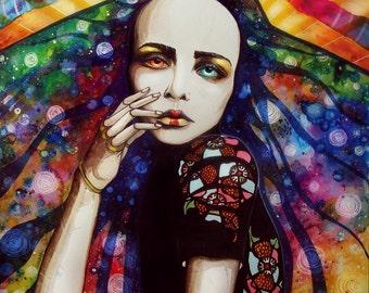 Goddess of universe - signed Art Print