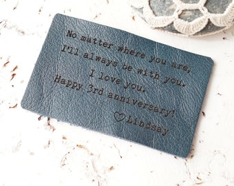 Leather Wallet Insert, Custom Wallet Card, Personalized Wallet Insert Card, 3rd Year Leather Wedding Anniversary Gift, Mens Gift
