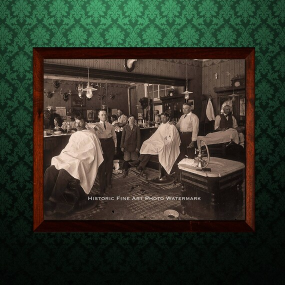 Barbershop Decor Vintage Photo Old Barber Shop Haircut Shave Shoeshine ...