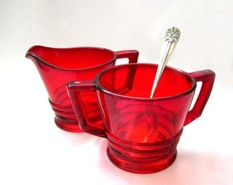 Ruby Red Cream and Sugar, 1930s - 1940s, Post Art Deco, Ridged Bottoms, Stunning Colors, Ruby Glass, Vintage Retro Kitchen
