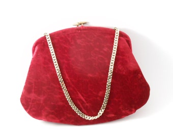 Vintage Morris Moskowitz 1950s Red Velvet Purse with Gold Chain; Midcentury Fashion