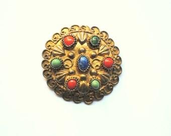 Vintage filigree silver brooch