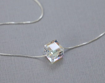 Cube Necklace, Swarovski Cube Crystal on Sterling Silver Necklace Chain