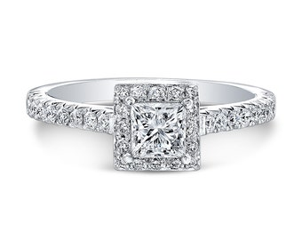 0.52ct E SI2 Princess Cut Diamond set in a 14K white gold Halo Engagement Ring