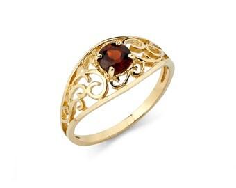 14K Yellow Gold Garnet Ring, Garnet Ring, Gold Ring, Garnet Jewelry, Gold Jewelry, Circle Garnet, Fancy Ring, Fancy Jewelry, Garnet, Ring