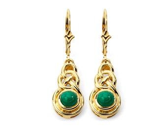 14K Gold Emerald Earrings, Emerald Earrings, Gold Earrings, Emerald Jewelry, Gold Jewelry, Fancy Earrings, Fancy Jewelry, Irish Jewelry