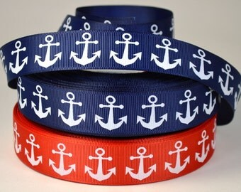 """1""""  Nautical Anchor Grosgrain Ribbon"""