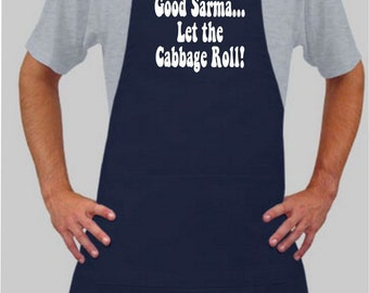 Good Sarma...Let the Cabbage Roll Apron in Navy