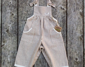 Organic Baby Clothes Overalls Brown Stripes