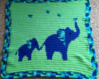 PATTERN: Mommy and Me Elephants Baby Blanket - Blue & Green