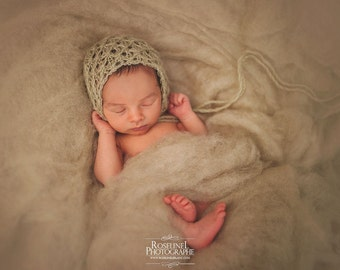 Newborn lotus stitch mohair blend bonnet