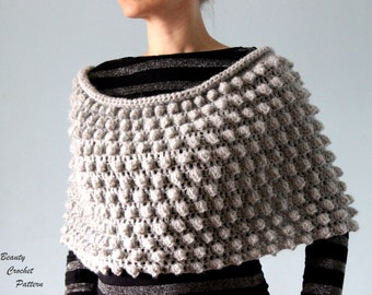Crochet Poncho Pattern,  Womens Crochet  Poncho Pattern,  Popcorn Crochet Snood Pattern, Crochet Wrap Pattern, Crochet Cape Pattern
