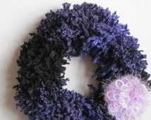 Poodle Yarn Ruffle scarf, Knitted scarf, Fashion scarf, Fluffy Scarf, Ladies scarves, Black, Purple, Infinity Scarf, Winter Accessories