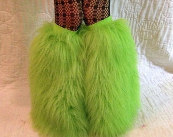 Fluffies long green glitter  fluffie leg warmers. Great for raves, festivals, and gogo dancers.