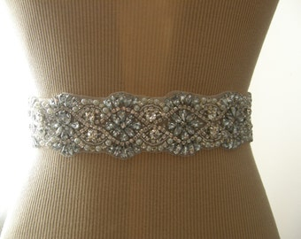 SALE / Wedding Belt, Bridal Belt, Bridesmaid Belt, Sash Belt, Wedding Sash, Bridal Sash, Belt, Crystal Rhinestone & Pearl, 21 INCHES