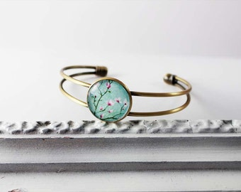 Bracelet bracelet with cherry blossoms, turquoise pink, shabby nostalgic version in bronze with glass stone, Japan Hipster