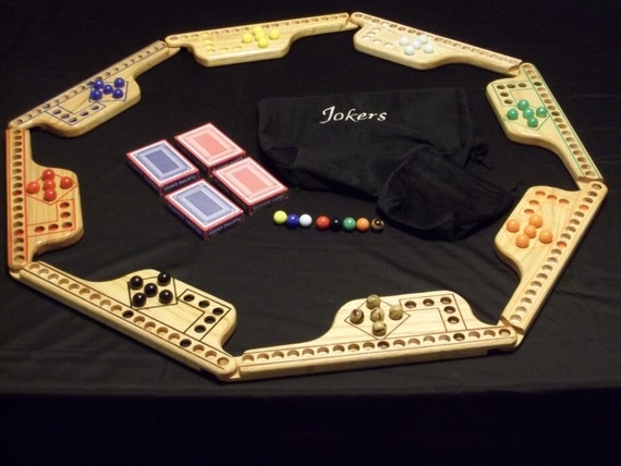 Jokers and Marbles 8 Player game in Pine