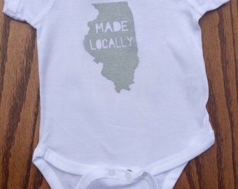 Illinois Made Locally onesies/Toddler Tee Shirt
