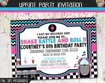 Fifties Dance Party Invitation  - Sock Hop Invitation -  50's Party Invitation - Custom Printable