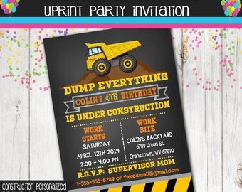 Construction Party Invitation - Dump Truck Invitation - Custom - Personalized - Printable - Chalkboard