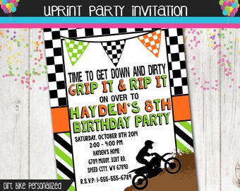 Boy Dirt Bike Birthday Party Invitation - Dirtbike - Printable - Birthday -
