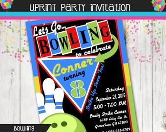 Retro Bowling Party Invitation Boy Printable Invite