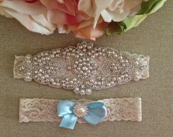 Light Blue Wedding Garter - Lace Garter Set - Rhinestone Garter - Pearl Garter - Toss Garter - Bridal Garter - Wedding Garter Belt